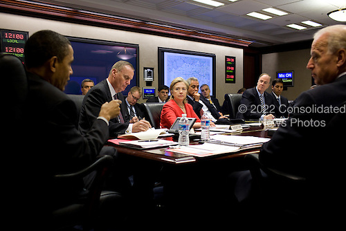 United States President Barack Obama speaks, during a meeting on Afghanistan and Pakistan, in the Situation Room of the White House, Friday, April 16, 2010. Listening at the table, from left, are National Security Advisor General James Jones, Secretary of State Hillary Rodham Clinton, Chief of Staff Rahm Emanuel, Deputy National Security Advisor Tom Donilon, USAID Administrator Rajiv Shah, and Vice President Joe Biden. .Mandatory Credit: Pete Souza - White House via CNP
