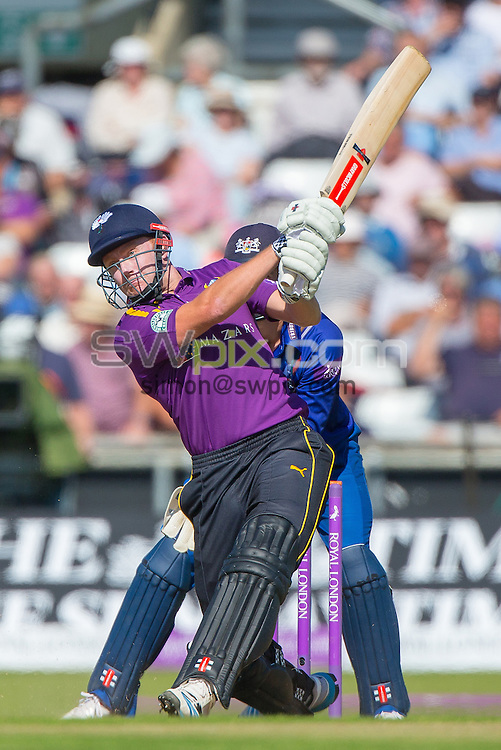 Picture by Alex Whitehead/SWpix.com - 06/09/2015 - Cricket - Royal London One-Day Cup, Semi-Final - Yorkshire CCC v Gloucestershire CCC - Headingley Cricket Ground, Leeds, England - Yorkshire's Jonny Bairstow hits out.