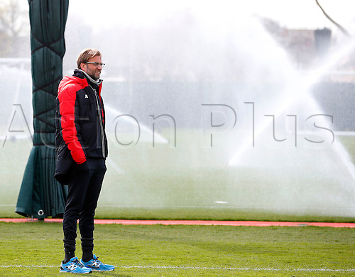 30.03.2016. Melwood, Liverpool, UK.  Liverpool's German head coach Juergen Klopp during their team training session at the Melwood Training Ground in Liverpool on 30 March 2016.