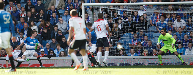 John Baird (L) shoots to score for Falkirk