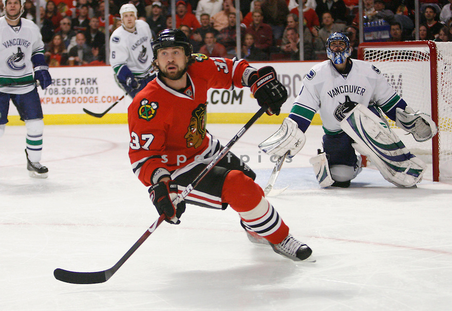 ADAM BURISH, of the Chicago Blackhawks  in action during the Blackhawks game against the Vancouver Canucks in Chicago, IL on May 11, 2009  The Blackhawks win 7-5.