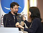 Christine Toy Johnson presents Lin-Manuel Miranda the 2018 Rosetta LeNoire Award at Actors' Equity Office on April 23, 2018 in New York City.