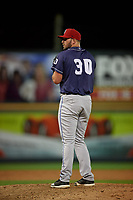 Binghamton Rumble Ponies relief pitcher Joseph Shaw (30) during an Eastern League game against the Richmond Flying Squirrels on May 29, 2019 at The Diamond in Richmond, Virginia.  Binghamton defeated Richmond 9-5 in ten innings.  (Mike Janes/Four Seam Images)