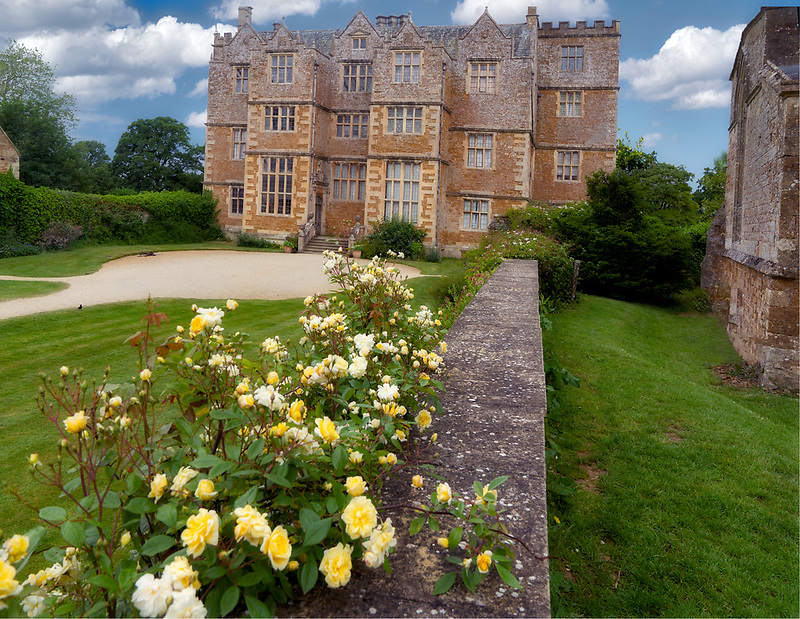 Chastleton House with roses. Chastleton, England. The Cotswolds