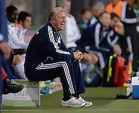 FUSSBALL INTERNATIONAL Laenderspiel Freundschaftsspiel U 21   Deutschland - Frankreich     13.08.2013 DFB Trainer Horst Hrubesch (Deutschland) emotional