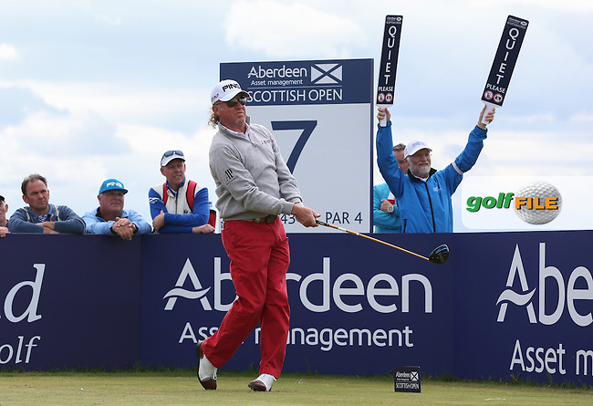 Miguel Angel Jimenez (ESP) carded a 68 during Round Three of the 2015 Aberdeen Asset Management Scottish Open, played at Gullane Golf Club, Gullane, East Lothian, Scotland. /11/07/2015/. Picture: Golffile | David Lloyd<br /> <br /> All photos usage must carry mandatory copyright credit (&copy; Golffile | David Lloyd)