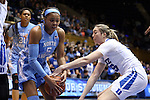 24 January 2016: Duke's Erin Mathias (right) knocks the ball away from North Carolina's Stephanie Watts (5). The Duke University Blue Devils hosted the University of North Carolina Tar Heels at Cameron Indoor Stadium in Durham, North Carolina in a 2015-16 NCAA Division I Women's Basketball game. Duke won the game 71-55.