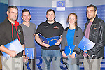 STUDENTS: Students from ITT Tralee who attended The European Economics Policy-What's in it for Ireland, on Thuirsday evening, in the Solas Building ITT North Campus, L-r: Neil Kelly, Barry Rogers, Niakll Harty (ITTSU-Pres), Paula O'Sullivan and Dennis O'Sullivan.