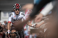 Michal Kwiatkowski (POL/Team Sky) pre race reaching out for high fives. <br /> <br /> 83th Flèche Wallonne 2019 (1.UWT)<br /> 1 Day Race: Ans – Huy 195km<br /> <br /> ©kramon