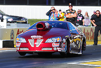 Feb. 9, 2012; Pomona, CA, USA; NHRA pro stock driver Warren Johnson during qualifying at the Winternationals at Auto Club Raceway at Pomona. Mandatory Credit: Mark J. Rebilas-