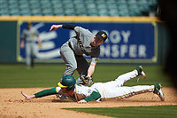 Ryan Bertelsman (3) of the Baylor Bears is tagged out by Mark Vierling (9) of the Missouri Tigers as he tries to steal second base in game one of the 2020 Shriners Hospitals for Children College Classic at Minute Maid Park on February 28, 2020 in Houston, Texas. The Bears defeated the Tigers 4-2. (Brian Westerholt/Four Seam Images)