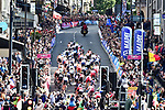 The peloton climbs up Parliment Street in Harrogate during the Women Elite Road Race of the UCI World Championships 2019 running 149.4km from Bradford to Harrogate, England. 28th September 2019.<br /> Picture: Allan McKenzie/SWpix.com | Cyclefile<br /> <br /> All photos usage must carry mandatory copyright credit (© Cyclefile | Allan McKenzie/SWpix.com)
