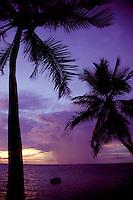 Indian Ocean, Maldives, Lohifushi Island, thunderstorm at sunset