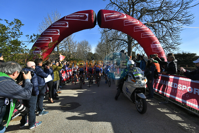 The start of the Strade Bianche Women Elite 2019 running 133km from Siena to Siena, held over the white gravel roads of Tuscany, Italy. 9th March 2019.<br /> Picture: LaPresse/Gian Matteo D'Alberto | Cyclefile<br /> <br /> <br /> All photos usage must carry mandatory copyright credit (© Cyclefile | LaPresse/Gian Matteo D'Alberto)