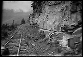 View through Goose windshield of railroad grade north of Ames.<br /> RGS  Ames, CO  ca. 1944
