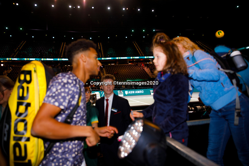 Rotterdam, The Netherlands, 11 Februari 2020, ABNAMRO World Tennis Tournament, Ahoy, <br /> Felix Auger-Aliassimi (CAN) gives autographs and hangs out with fans.<br /> Photo: www.tennisimages.com