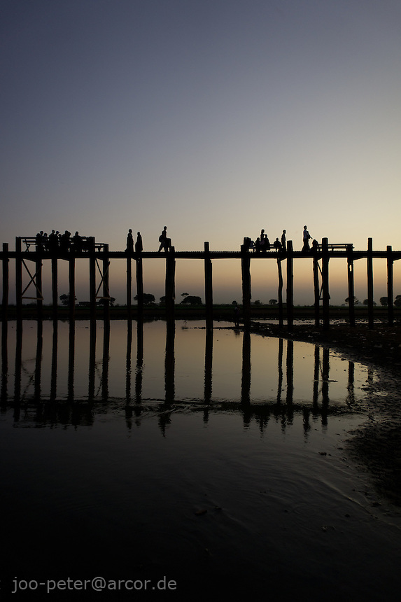 sunset at U Bein's bridge in Amarapura,  Mandalay, Myanmar, 2011