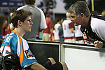 San Francisco Dragons vs Los Angeles Riptide.Lebard Stadium, Orange Coast College,Huntington Beach, California.Coach John Tucker of the Los Angeles Riptide talks with Cameron Piorek, who is paralyzed from the chest down as a result of a collision during a high school lacrosse game in April 2008.OM3D8519.JPG.CREDIT: Dirk Dewachter