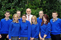Miltown Secondary School students pictured with principal Cormac Bonner after receiving their junior certs on Wednesday, from left, Anthony Kennedy, Michelle Clifford, Cora marie Kelliher, Claire O'Sullivan, Sheridan Dwyer, Elaine kelliher, Helena Horgan and Daragh Murphy.<br /> Picture by Don MacMonagle