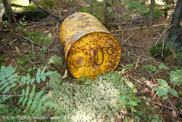 Rusted metal can near Shoal Pond in the White Mountains, New Hampshire USA. This can is not from the logging era.
