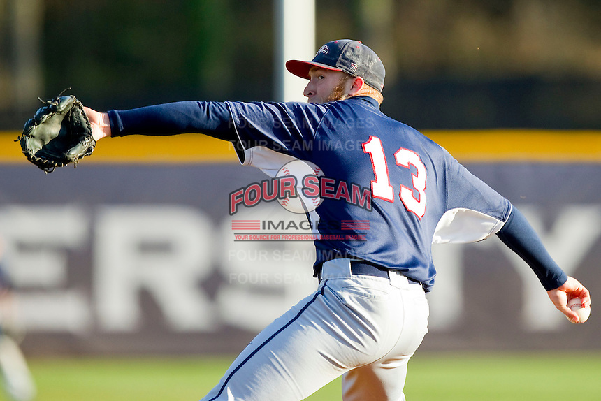 Liberty Flames starting pitcher Trey Lambert (13) in action against the High Point Panthers at Willard Stadium on March 23, 2013 in High Point, North Carolina.  The Panthers defeated the Flames 9-3.  (Brian Westerholt/Four Seam Images)