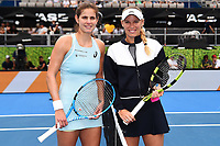 Julia Goerges from Germany and Caroline Wozniacki from Demark during the ASB Classic WTA Women's Tournament Day 7 Singles Final. ASB Tennis Centre, Auckland, New Zealand. Sunday 7 January 2018. ©Copyright Photo: Chris Symes / www.photosport.nz