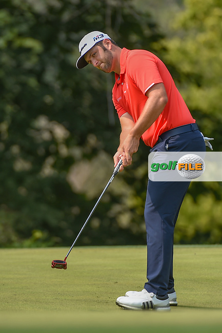 Jon Rahm (ESP) watches his putt on 9 during 4th round of the 100th PGA Championship at Bellerive Country Club, St. Louis, Missouri. 8/12/2018.<br /> Picture: Golffile | Ken Murray<br /> <br /> All photo usage must carry mandatory copyright credit (© Golffile | Ken Murray)