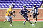 Michael LeClair (19) of the High Point Panthers keeps the ball away from Ian Gray (42) of the UMBC Retrievers at Vert Track, Soccer & Lacrosse Stadium on March 15, 2014 in High Point, North Carolina.  The Panthers defeated the Retrievers 17-15.   (Brian Westerholt/Sports On Film)