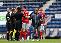 11th July 2020; Deepdale Stadium, Preston, Lancashire, England; English Championship Football, Preston North End versus Nottingham Forest; Nottingham Forest manager Sabri Lamouchi and his players thank referee Jeremy Simpson and his assistants at the end of the game Strictly Editorial Use Only. No use with unauthorized audio, video, data, fixture lists, club/league logos or 'live' services. Online in-match use limited to 120 images, no video emulation. No use in betting, games or single club/league/player publications