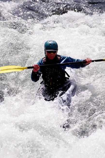 Woman kayaking on the Yuba River