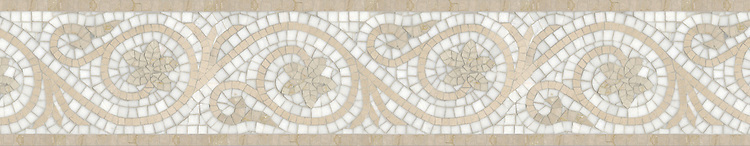 "8"" Countess border, a hand-cut stone mosaic, shown in polished Crema Marfil, Botticino, and Thassos."
