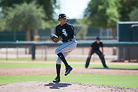 Chicago White Sox relief pitcher Wilber Perez (43) delivers a pitch during an Instructional League game against the Kansas City Royals at Camelback Ranch on September 25, 2018 in Glendale, Arizona. (Zachary Lucy/Four Seam Images)