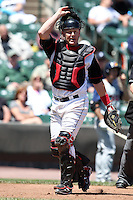 Rochester Red Wings catcher Steve Holm #24 during a game against the Toledo Mudhens at Frontier Field on June 2, 2011 in Rochester, New York.  Rochester defeated Toledo 8-0.  Photo By Mike Janes/Four Seam Images
