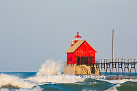64795-01213 Grand Haven South Pier Lighthouse at sunrise on Lake Michigan, Ottawa County, Grand Haven, MI