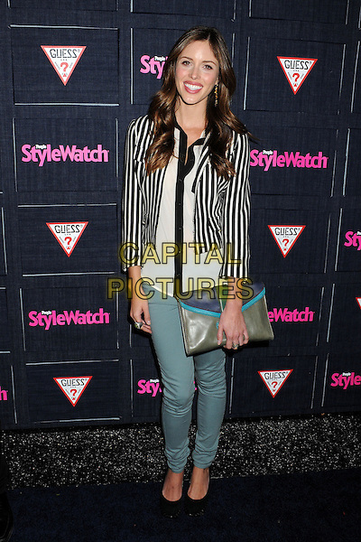 Kayla Ewell.People StyleWatch hosts Hollywood Demin Party in honor of 2nd Annual Denim Issue held at Palihouse, West Hollywood, California USA..20th September 2012.full length shirt jeans denim clutch bag grey gray white black striped stripes blazer .CAP/ADM/BP.©Byron Purvis/AdMedia/Capital Pictures.