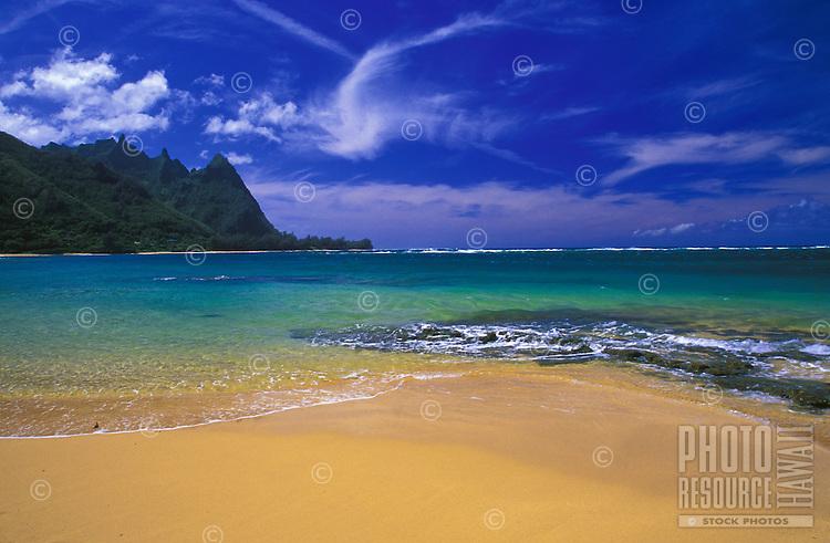 Hanalei Beach with view of Bali High Mountain, Kauai