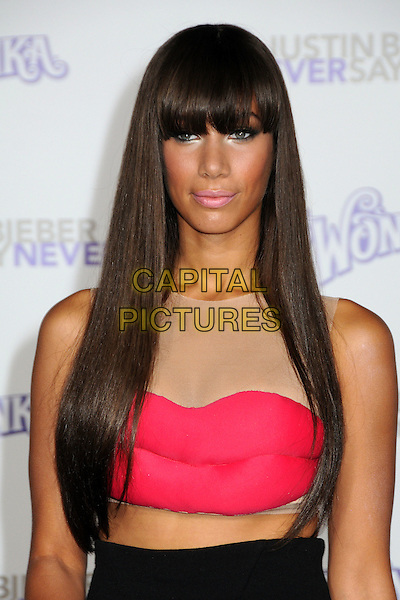 """LEONA LEWIS.""""Justin Bieber: Never Say Never"""" Los Angeles Premiere held at Nokia Theater L.A. Live, Los Angeles, California, USA..February 8th, 2011.half length red pink lips dress cut out midriff mesh flesh beige sleeveless fringe black skirt mouth make-up beauty .CAP/ADM/BP.©Byron Purvis/AdMedia/Capital Pictures."""