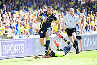 (L-R) Scott Spedding of Clermont beats Joey Carbery of Leinster during the European Champions Cup semi final match between AS Clermont and Leinster on April 23, 2017 in Clermont-Ferrand, France. (Photo by Dave Winter/Icon Sport)