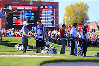 Andy Sullivan (ENG) on the 17th green during Sunday Singles matches at the Ryder Cup, Hazeltine National Golf Club, Chaska, Minnesota, USA.  02/10/2016<br /> Picture: Golffile | Fran Caffrey<br /> <br /> <br /> All photo usage must carry mandatory copyright credit (&copy; Golffile | Fran Caffrey)