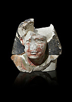 Ancient Egyptian statue head of a monarch, limestone, Middle Kingdom, mis 12th Dynasty, (1900-1850 BC), Qqw el-Kebir, tomb of Ibu. Egyptian Museum, Turin. black background.<br /> <br /> Since this statue head comes from the tomb of Ibu it is likely that they depict a powerful gosvenor, although the incsription is lost. It can be dated by its style which is close to the statues of Amenemhat II and Sesostris II. Schiaparelli excavations. Cat 4410 & 4414