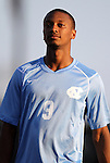 31 August 2012: UNC's Jordan McCrary. The University of North Carolina Tar Heels defeated the West Virginia University Mountaineers 1-0 at Fetzer Field in Chapel Hill, North Carolina in a 2012 NCAA Division I Men's Soccer game.