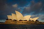 Sydney Opera house exterior in sunset light