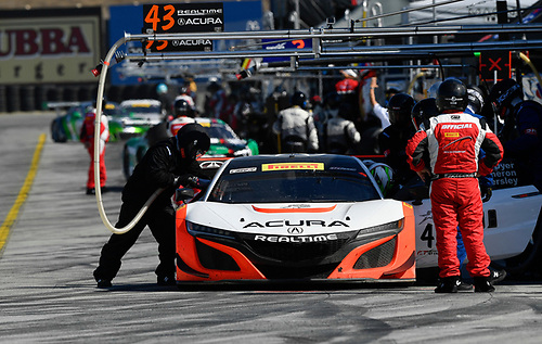 Pirelli World Challenge<br /> Intercontinental GT Challenge California 8 Hours<br /> Mazda Raceway Laguna Seca<br /> Sunday 15 October 2017<br /> Ryan Eversley, Tom Dyer, Dane Cameron, Acura NSX GT3, GT3 Overall pit stop<br /> World Copyright: Richard Dole<br /> LAT Images<br /> ref: Digital Image RD_PWCLS17_324