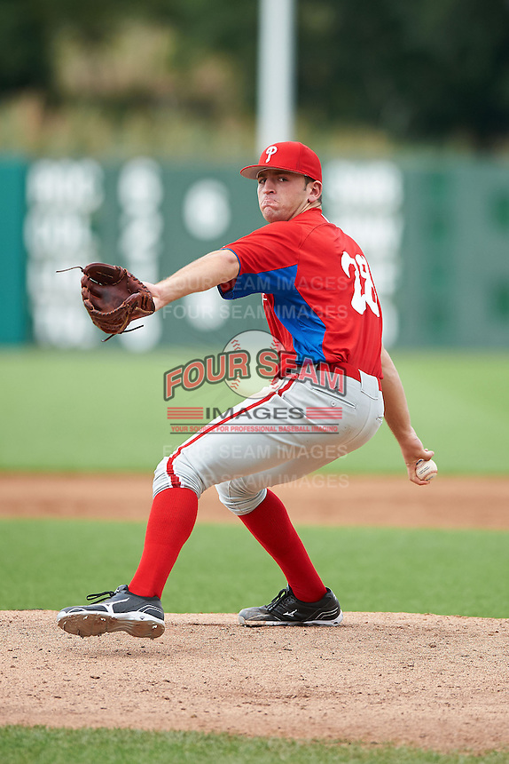 Matt Pidich #28 of Christian Brothers Academy in Aberdeen, New Jersey playing for the Philadelphia Phillies scout team during the East Coast Pro Showcase at Alliance Bank Stadium on August 2, 2012 in Syracuse, New York.  (Mike Janes/Four Seam Images)