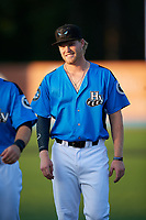 Hudson Valley Renegades Jacson McGowan (37) warms up before a game against the Tri-City ValleyCats on August 24, 2018 at Dutchess Stadium in Wappingers Falls, New York.  Hudson Valley defeated Tri-City 4-0.  (Mike Janes/Four Seam Images)