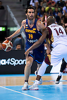 Spain's basketball player Fernando San Emeterio and Venezuela's basketball player Miguel Ruiz during the  match of the preparation for the Rio Olympic Game at Madrid Arena. July 23, 2016. (ALTERPHOTOS/BorjaB.Hojas) /NORTEPHOTO.COM