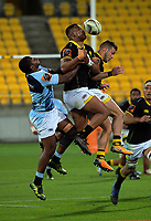 Julian Savea goes up for the ball during the Mitre 10 Cup Championship semifinal match between Wellington Lions and Northland Taniwha at Westpac Stadium in Wellington, New Zealand on Friday, 20 October 2017. Photo: Dave Lintott / lintottphoto.co.nz
