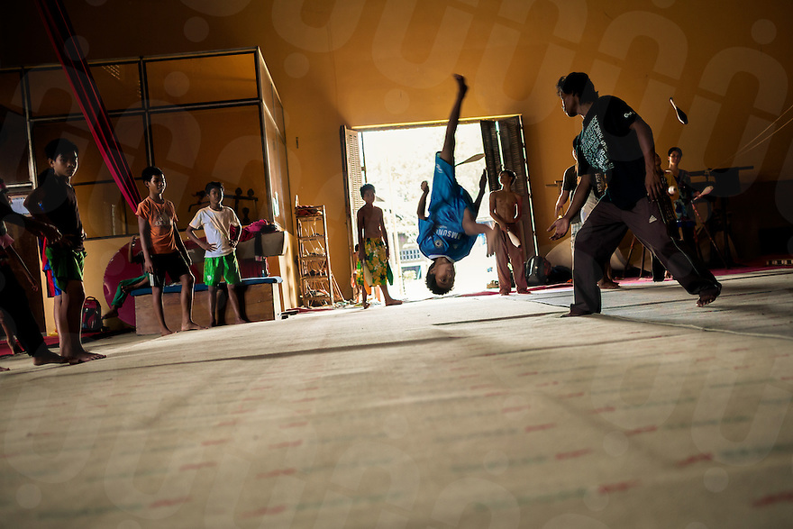"""22/06/2012 - Battambang. """"Phare Ponleu Selpak""""PPS is a Cambodian association using arts to answer children psycho social needs. One of the most important program is the circus school, that provides teaching in the major disciplines as juggling, acrobatics, aerial acts, clowning, balancing, dancing..."""