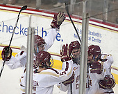 Brendan Silk (BC - 9), Michael Matheson (BC - 5), Adam Gilmour (BC - 14), Chris Calnan (BC - 11) - The Boston College Eagles defeated the visiting Boston University Terriers 6-4 (EN) on Friday, January 17, 2014, at Kelley Rink in Conte Forum in Chestnut Hill, Massachusetts.