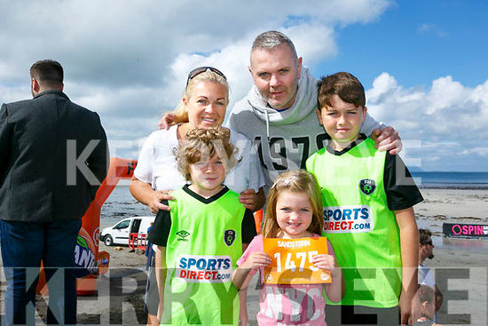 At the start of the 5km Sandstorm challenge last Saturday on Ballyheigue beach were  Edel O' Neill, Ryan O'Neill, Henry O'Neill, Abbey O'Neil, Alex O'Niel